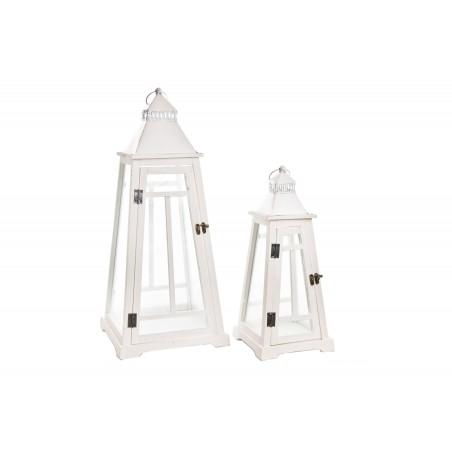 ZESTAW DWÓCH LAMPIONÓW DREWNIANYCH WYS: 47cm i 67cm