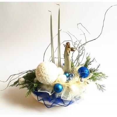 Stroik Boże Narodzenie Świąteczny z Aniołem 40cm, nowoczesny design