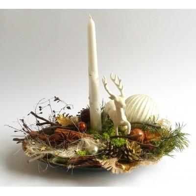 Stroik Boże Narodzenie Świąteczny z Jeleniem 35cm, nowoczesny design