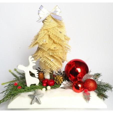 Stroik Bożonarodzeniowy z choinką i reniferem