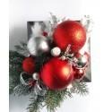 Stroik Bożonarodzeniowy za grafitowej podstawce czerwono-srebrny