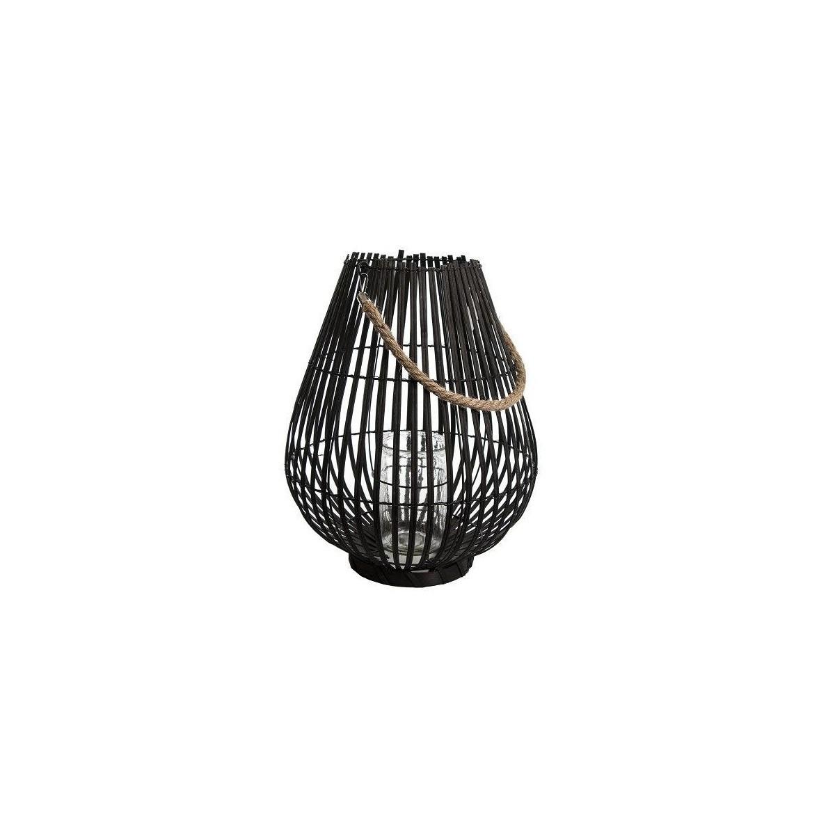 Czarny lampion drewniany z uchwytem - 45 cm