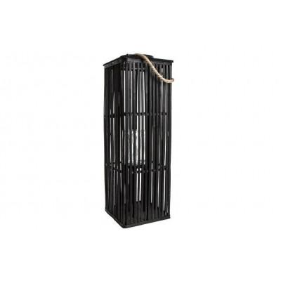 Czarny lampion drewniany uchwytem 80cm