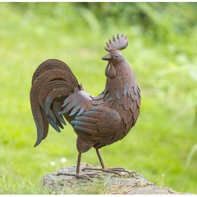 Figura ogrodowa metalowa kogut wys 47cm