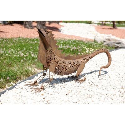 Figura ogrodowa metalowa iguana długość 80cm