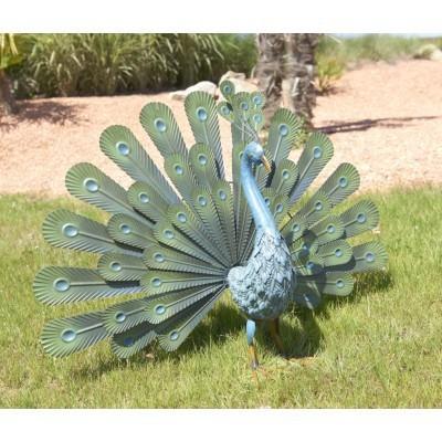 Figura ogrodowa metalowa paw długość 56cm