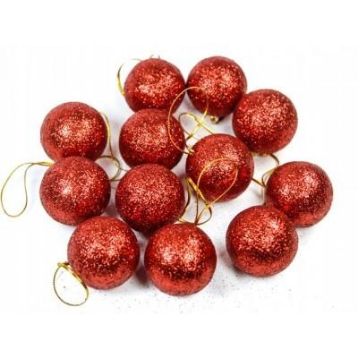 Bombka ozdoba na choinkę brokat czerwone 4 cm