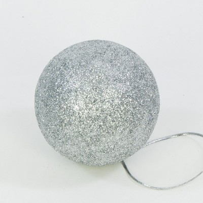 Bombka ozdoba na choinkę brokat 8 cm srebrna