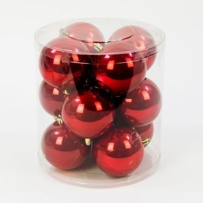 Bombka plastikowa czerwona perła 80 mm