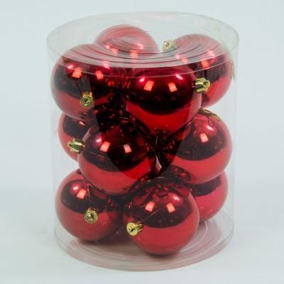 bombka plastikowa czerwona błyszcząca 60 mm