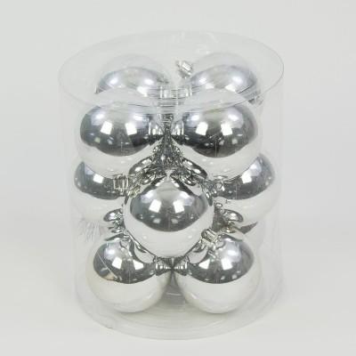 bombka plastikowa srebrna błyszcząca 60 mm