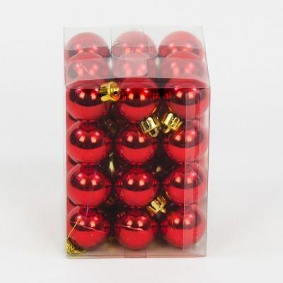 bombka plastikowa czerwone błyszcząca 40 mm