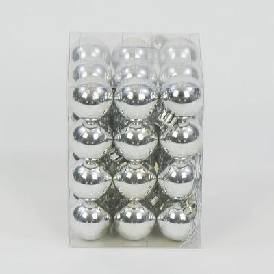 bombka plastikowa srebrna błyszcząca 40 mm