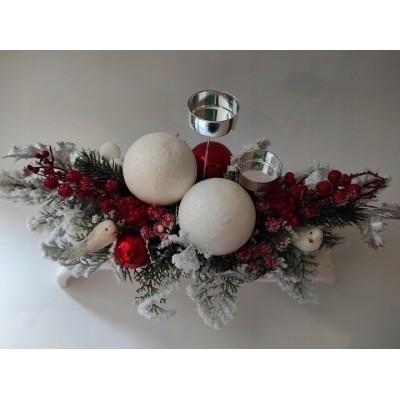 Stroik świąteczny w kolorystyce srebrno - czerwonej duży 44cm