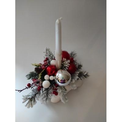 Stroik świąteczny mały ze świeczką