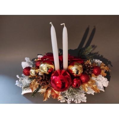 Stroik świąteczny w kolorystyce czerwono - złotym ze świeczkami duży